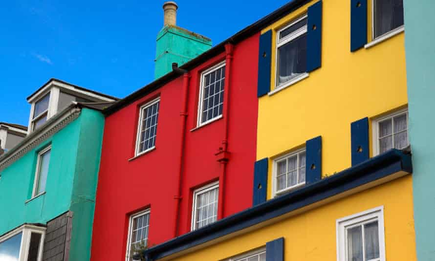 Brightly painted cottages in Devon