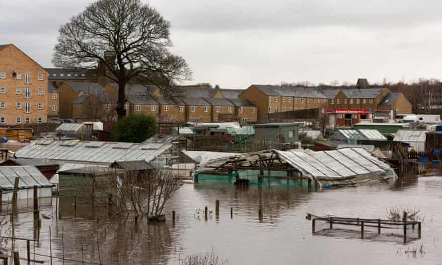 Allotments flooded as the River Colne overflowed in the aftermath of Storm Ciara in Yorkshire.