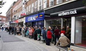 Queues at a Northern Rock branch in Kingston upon Thames after shares plunged in 2007