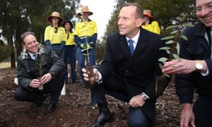 Tony Abbott and Greg Hunt at a green army initiative