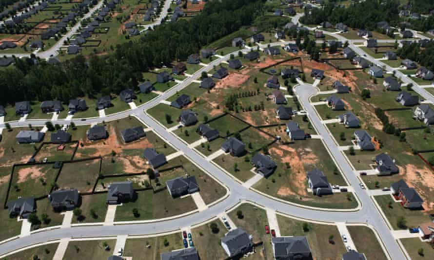 A middle-class suburban neighborhood in Atlanta. The middle class is shrinking but so is the lower class.