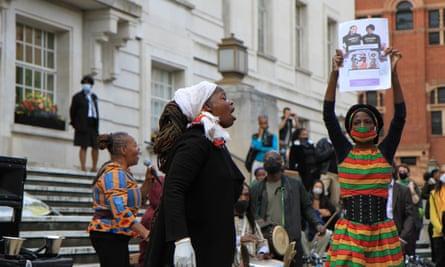 Demonstrators supporting Sistah Space outside Hackney town hall.