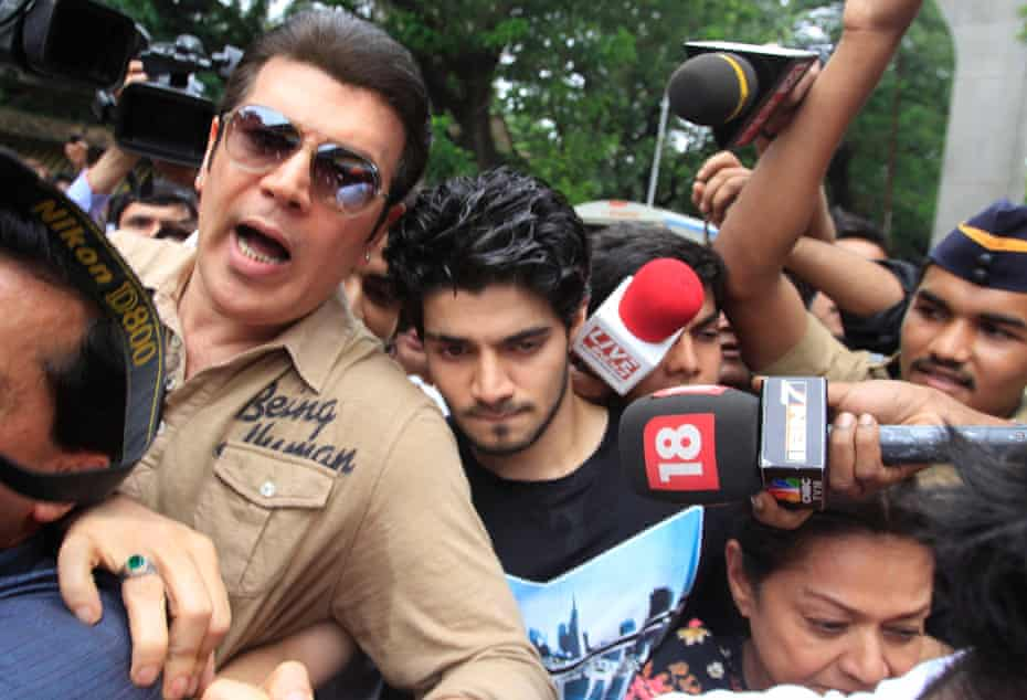 'My son is too emotional about this whole thing': Sooraj Pancholi, Jiah Khan's ex-boyfriend, leaves jail with his parents after being granted bail in July 2013.