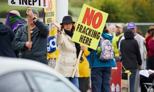 Anti-fracking protesters at Little Plumpton near the Fylde coast in July.