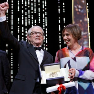Rebecca O'Brien with Ken Loach, picking up his Palme d'Or at Cannes for I, Daniel Blake in 2016.