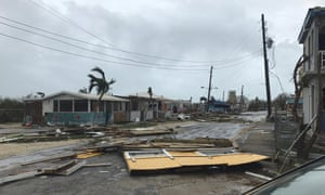 Storm damage in the aftermath of Hurricane Irma in the British overseas territory of Anguilla