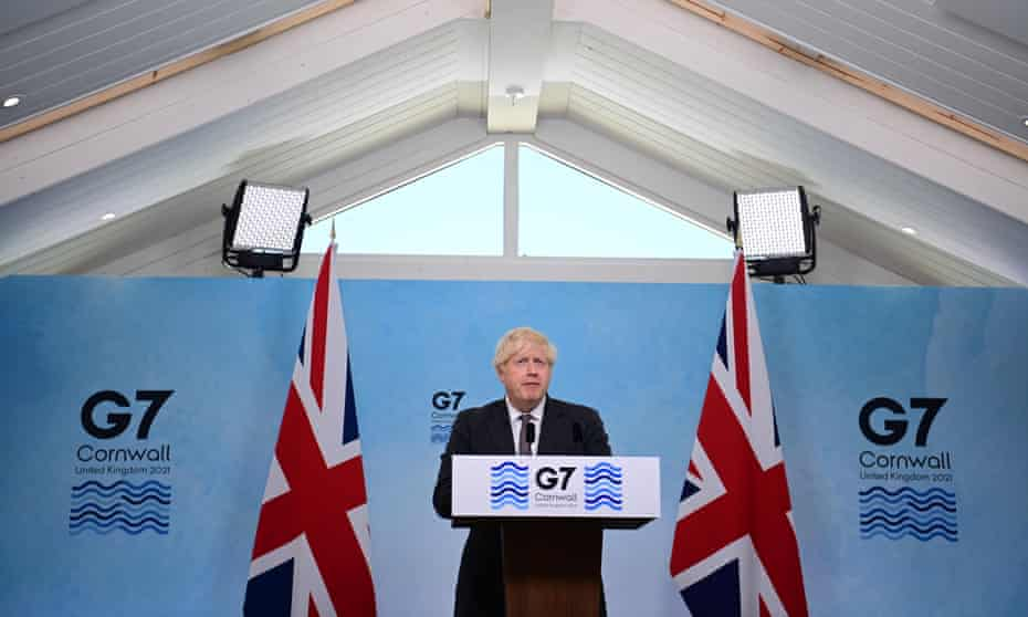 Boris Johnson speaks at a press conference on the final day of the G7 Summit in Carbis Bay, Cornwall.