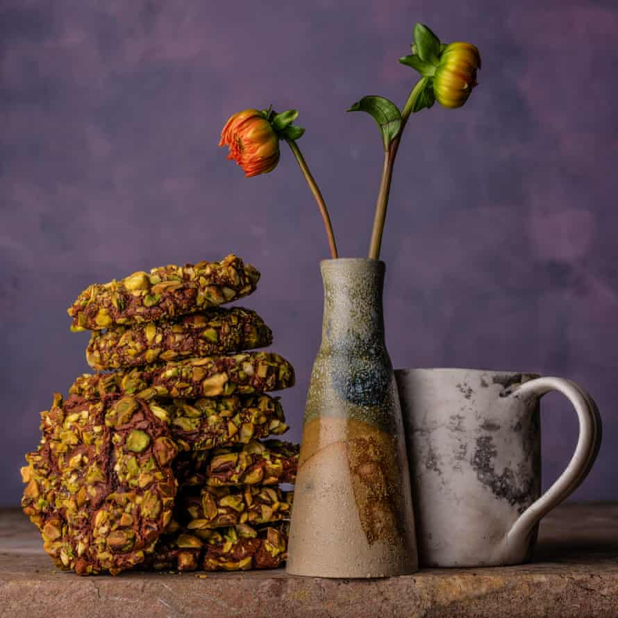 Chocolate & pistachio cookies Sarit Packer & Itamar Srulovich 20 best biscuits supplement Observer Food Monthly OFM