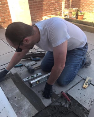 Chris Clark building his patio.