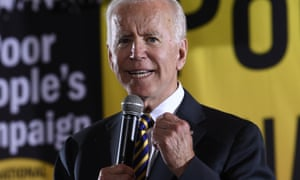 Joe Biden at the Poor People's Campaign forum in Washington, DC, yesterday, before zooming to New York City to begin a series of fundraisers