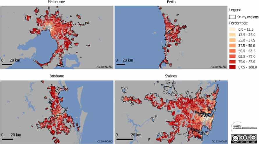 Percentage of residences by suburb without access to an on-licence (pub, bar or licensed restaurant) within 400 metres.