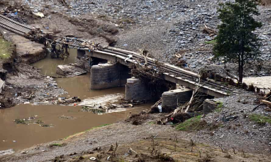 A railway bridge near Dernau in Germany destroyed by floods this month.