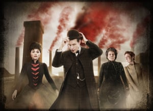 Jenna-Louise Coleman as Clara, Matt Smith as The Doctor, Diana Rigg as Mrs Gillyflower and Rachael Stirling as Ada in The Crimson Horror episode of Doctor Who, 2013