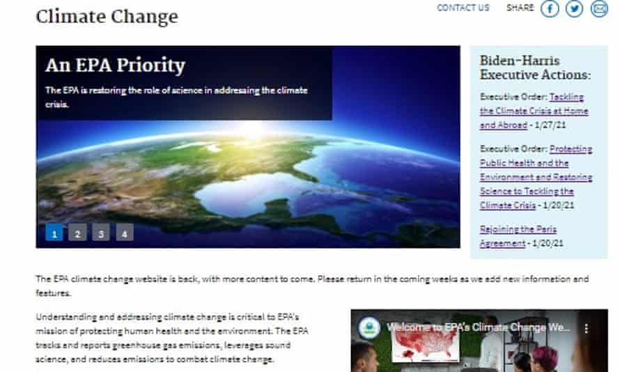 The climate change webpage of the Environmental Protection Agency website, which was relaunched on 18 March 2021.