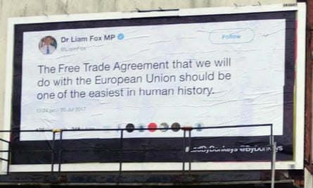 Liam Fox tweet: 'The free trade agreement that we will do with the European Union should be one of the easiest in human history'