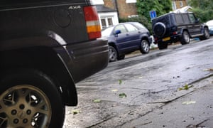 SUVs, sports vehicles, 4x4s in residential street (Dulwich, south London)