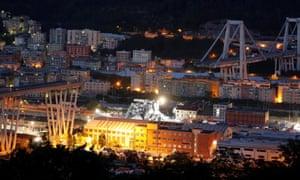 General view of collapsed Morandi Bridge in Genoa.