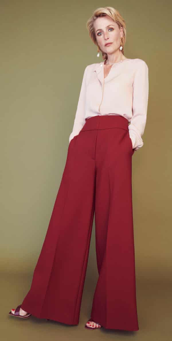 'I like to think I am a women's woman': GillianAnderson for Winser London silk georgette blouse; stretch wool trousers by Stella McCartney; shoes by Rupert Sanderson and earrings by Alighitheri.