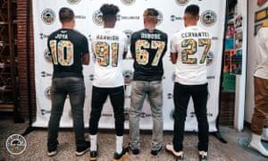 "Héctor Benjamín ""Benji"" Joya Jiménez, Yohannes Harish, Devante Dubose and Julio Cervantes debut the Oakland Roots SC jerseys."