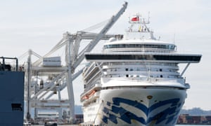 The Grand Princess cruise ship docked at the Port of Oakland on Monday.
