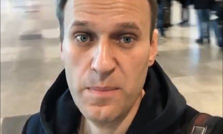 A selfie photo taken by Alexei Navalny at Domodedovo international airport outside Moscow