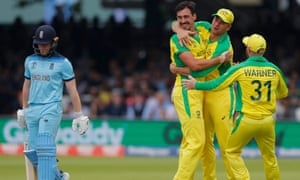 England's captain Eoin Morgan was dismissed by Mitchell Starc for four at Lord's on the way to a 64-run defeat.