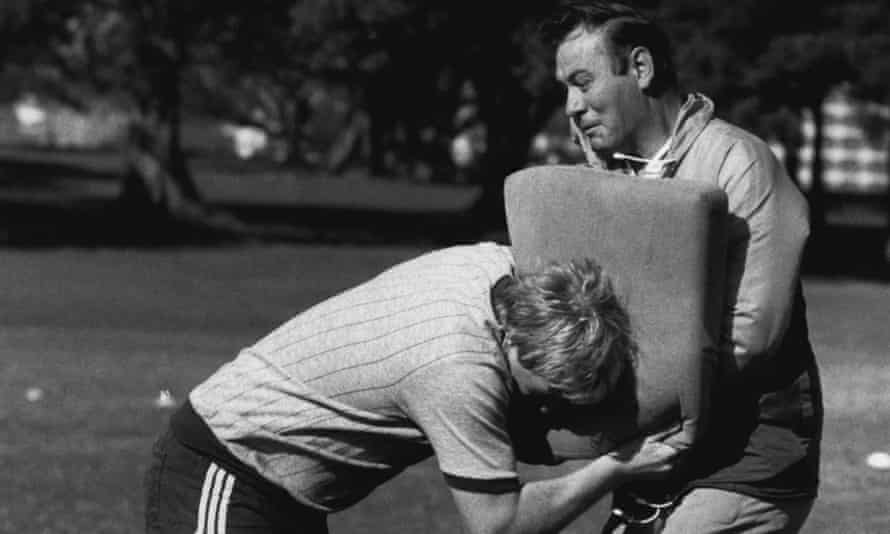 Great Britain full-back Mick Burke during tacking practice with his coach Frank Myler in 1984.