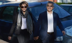 Sadiq Khan and his wife Saadiya arrive at Richardson Hall in Streatham to cast their votes in London's mayoral and assembly elections.