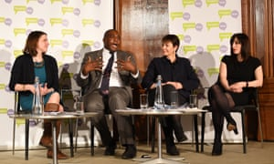 The People's Vote press conference this morning: (left to right) Lib Dem MP Jo Swinson, Labour s David Lammy, the Green MP Caroline Lucas and Labour's Bridget Philipson