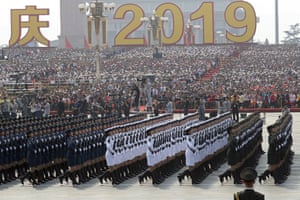Members of a Chinese military honour guard march during the celebration