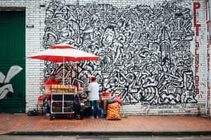 Grafitti revolution. The street art movement in Bogotá took off six years ago, following the shooting of graffiti artist Diego Felipe Becerra by police. After graffiti protests across the city, the mayor decided to promote and finance artists within designated zones.