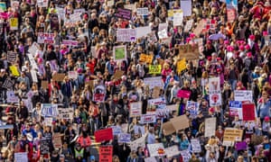 Aerial View of the 750,000 women participated in the Women's March, following the election of Donald Trump.