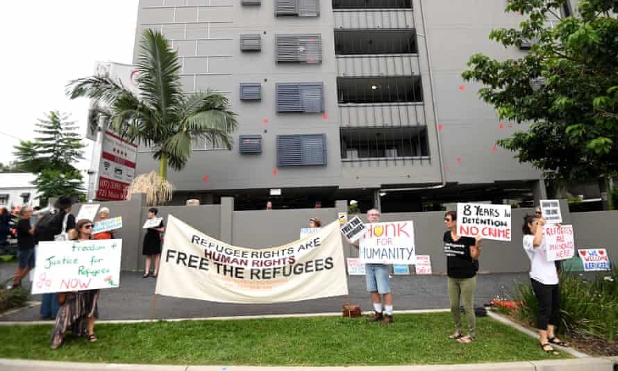 Refugees activists holding a rally outside the Kangaroo Point Central Hotel in Brisbane last month.