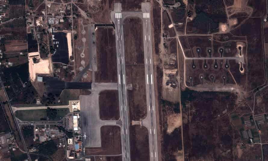 Satellite view of a military base in Latakia.