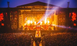 Slipknot performing on the main stage of Download festival in 2015.