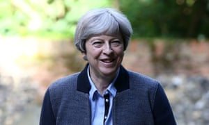Theresa May attending church in Sonning on Sunday.