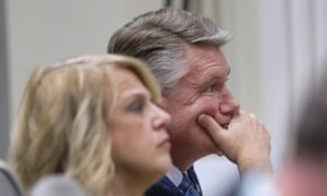 Mark Harris, a Republican candidate in North Carolina's ninth congressional race, listens to testimony during a voting irregularities investigation on Wednesday.
