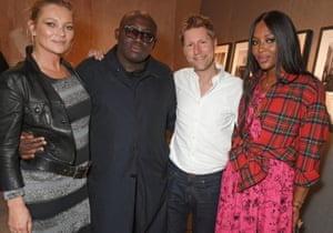 From left: model Kate Moss, British Vogue editor Edward Enninful, Burberry designer Christopher Bailey and model Naomi Campbell at the London fashion week Burberry show, September 2017