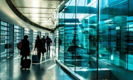 Passengers head for passport control at Dublin airport.