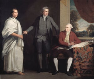 Daniel Solander, right, with Joseph Banks, centre, and the Tahitian Omai