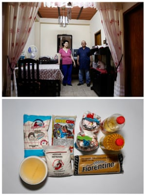 Romulo Bonalde (R) and his wife Maria de Bonalde posing for a picture (top) and the food that they have at home in Caracas, Venezuela April 23, 2016.
