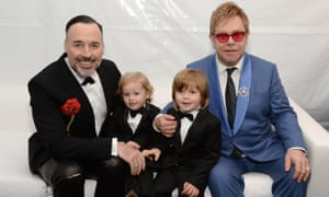 Elton John and husband David Furnish with their sons