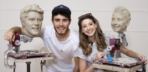 With Sugg and their Madame Tussauds wax heads.