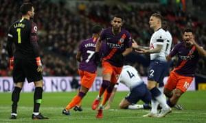 Riyad Mahrez of Manchester City celebrates after scoring his team's first goal.