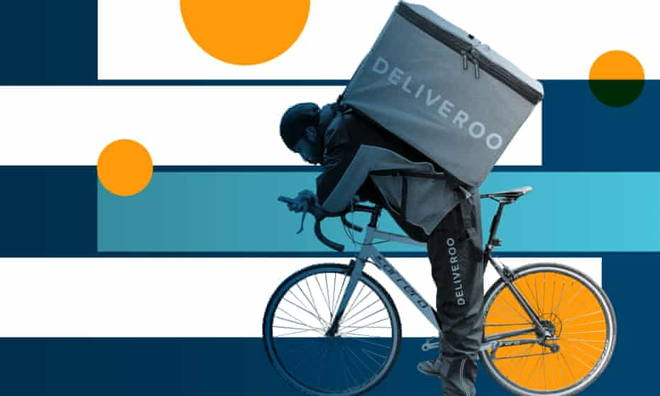 Deliveroo relies on 8,000 self-employed workers in the UK to deliver takeaway meals by bicycle