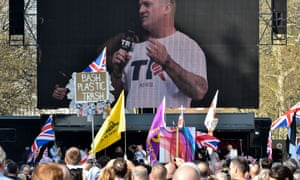 Tommy Robinson addressing a Ukip rally outside the Houses of Parliament