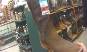 Giraffe hide western boots for sale at Foster's Western Wear in Texas in January 2018.