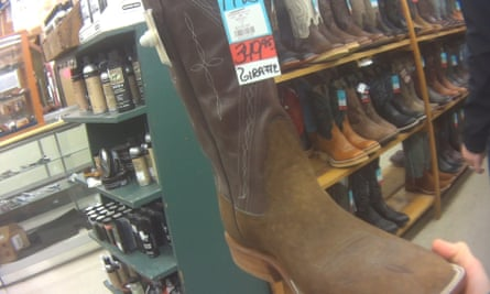 Giraffe hide western boots for sale at Foster's Western Wear in Texas in January 2018.