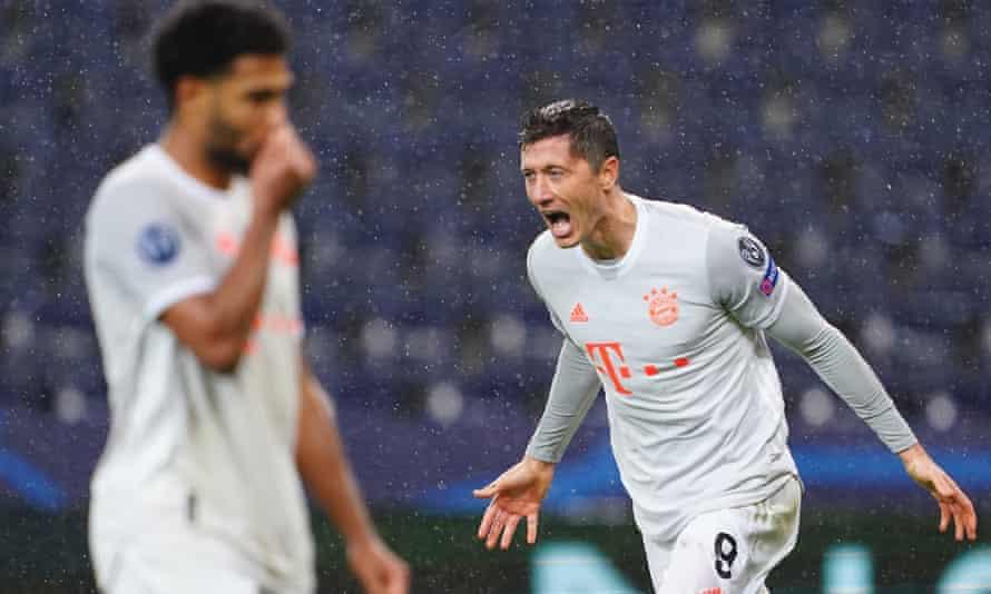 Robert Lewandowski celebrates one of his two goals during Bayern Munich's 6-2 win over RB Salzburg.