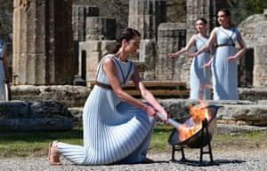 Actress Xanthi Georgiou lit the Olympic torch in Greece on Thursday – but will it ever reach Tokyo?
